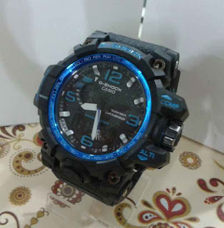 jam tangan G Shock dual time hitam list biru