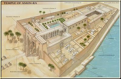 Reconstrucción ideal del templo de Amón-Ra. Complejo de templos de Karnak, Egipto.