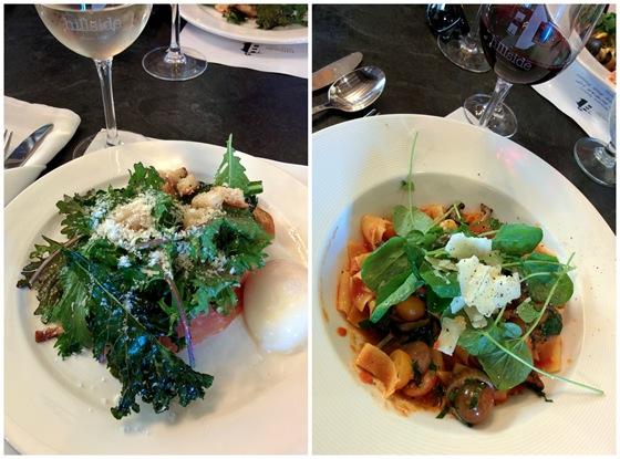 Hillside Bistro lunch: Kale Caesar & Mushroom Pappardelle