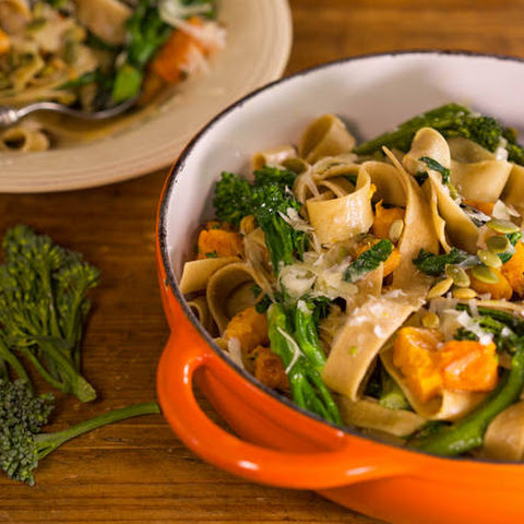 Anne Burrell's Whole Wheat Pappardelle with Roasted Butternut Squash, Broccoli Rabe and Pumpkin Seeds