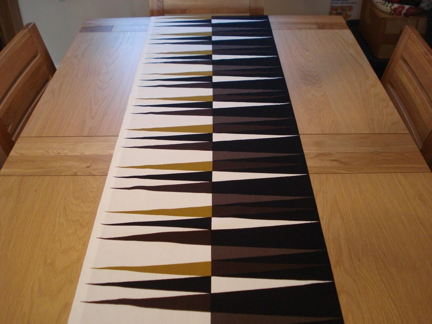 Table runner brown and black pattern Backgammon 17.5 inch wide length up to