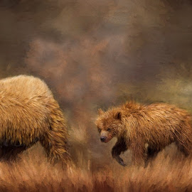 Mom and the kids by Rich Reynolds - Digital Art Animals ( bear, digital  art, kids, oil painting, mom, grizzly bear )