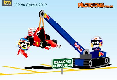 pilotoons Себастьян Феттель эвакуирует Фернандо Алонсо и Ferrari на Гран-при Кореи 2012