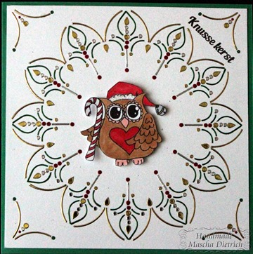 Hobbydots Owl with Candy Cane 1