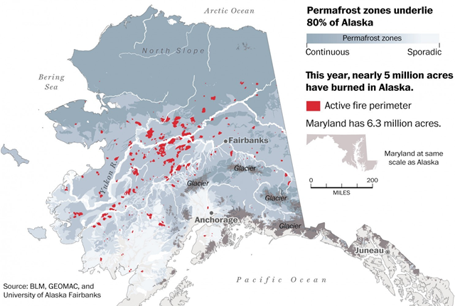 Map of Alaska wildfires during the 2015 fire season. By the end of July, nearly 5 million acres of forest had burned. Graphic: Washington Post