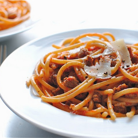 Bucatini with Sausage in a Roasted Red Pepper Sauce