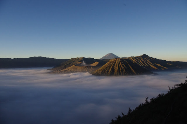 An early morning view over the three volcanoes sitting in the Tengger caldera.