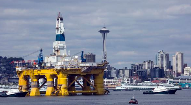 Shell's Polar Pioneer is towed into port in Seattle. Photo: World Maritime News