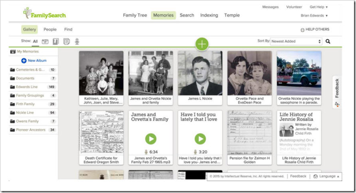 New FamilySearch Memories Gallery
