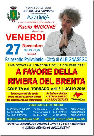 27 novembre evento a favore della riviera