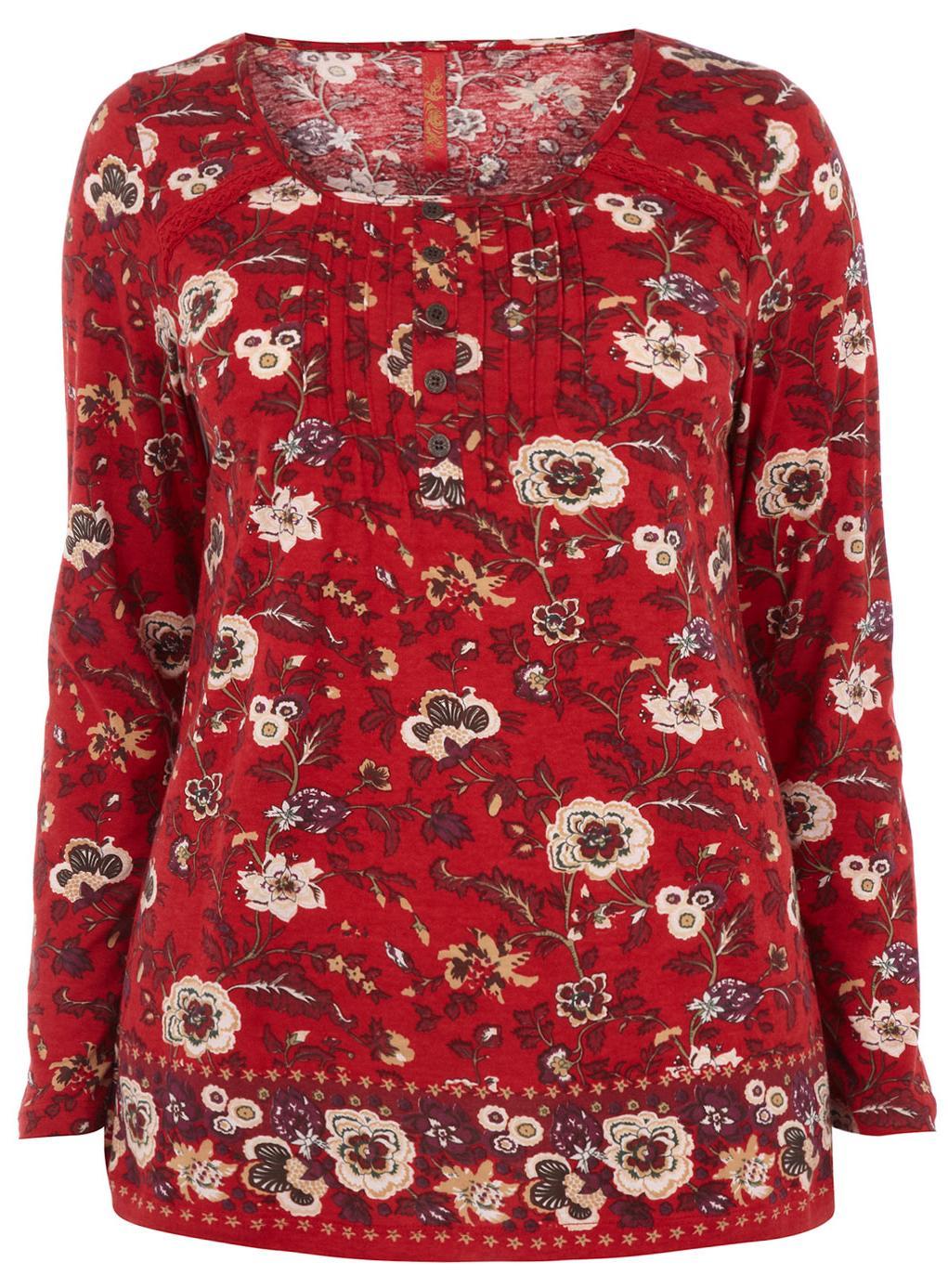 Evans Red Floral Print Top