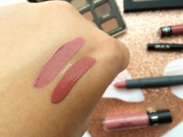 swatch of sephora luster matte fig luster kat von d everlasting liquid lipstick lolita NC40 skin