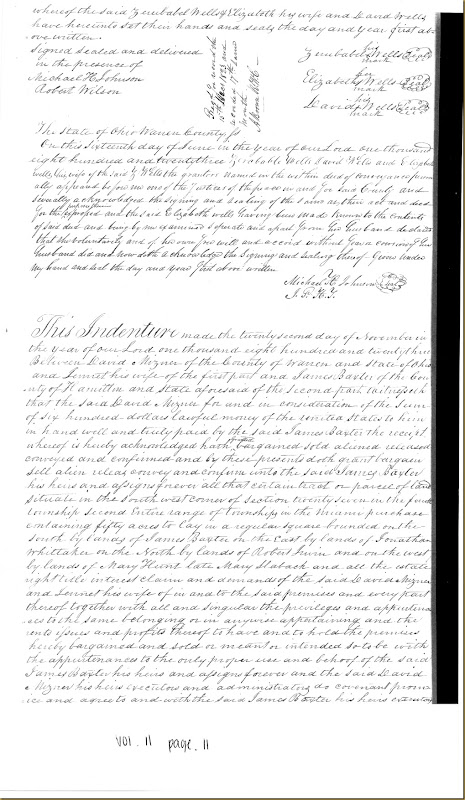 David Mizner of Warren Co, OH to James Baxter 22 November 1823_0001