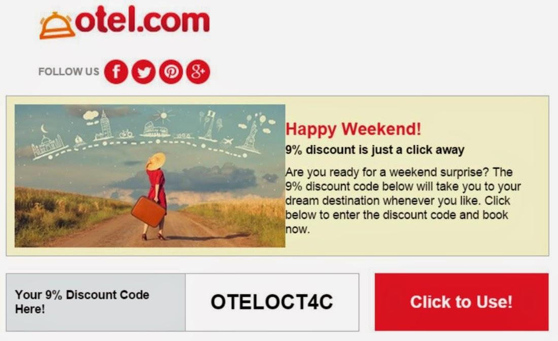 Otel.com 最新9.1折優惠碼,10月21日前適用。