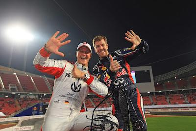 Михаэль Шумахер и Себастьян Феттель одерживают очередную победу на Гонке чемпионов 2012