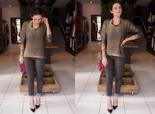 Look jeans preto e tricô metálico  (8)