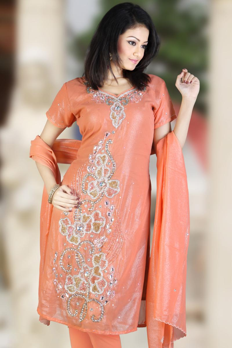 Light Orange Embroidered Shimmer Georgette Churidar Kameez   48.00