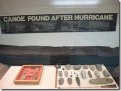 Dugout canoe and artifacts