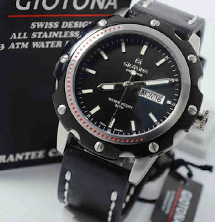 jam tangan Giotona GT6045 black leather ring black silverblack