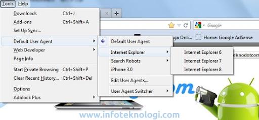cara mengganti user agent di firefox