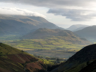 View to the Dodds in cloud from near Lonscale Crags.