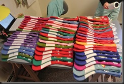 A mountain of Stockings.  More like a rainbow!