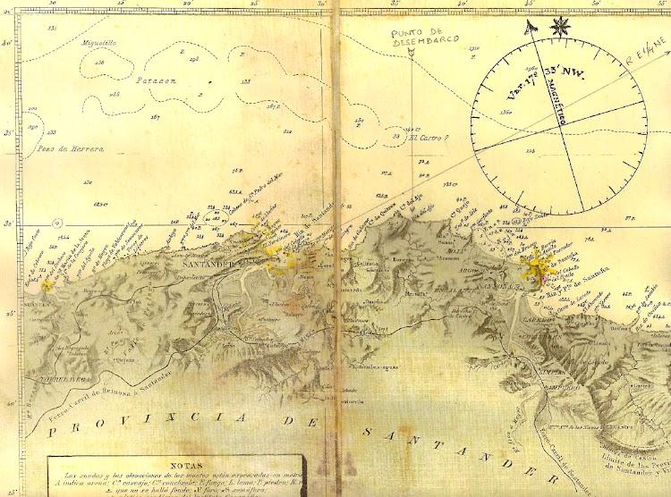 Carta representando el naufragio del vapor AVISO. Realizada por Juan M. Rekalde.bmp