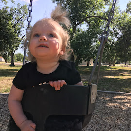 Aspen Swinging by Chuck Ruffin - Babies & Children Babies ( park, summer, baby, swing )