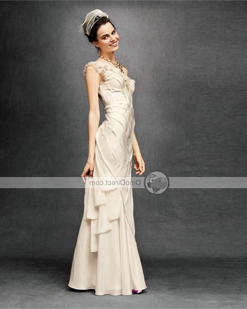 Chiffon Ruffle One Shoulder Sweep Mermaid Bridal Gown Wedding Dresses