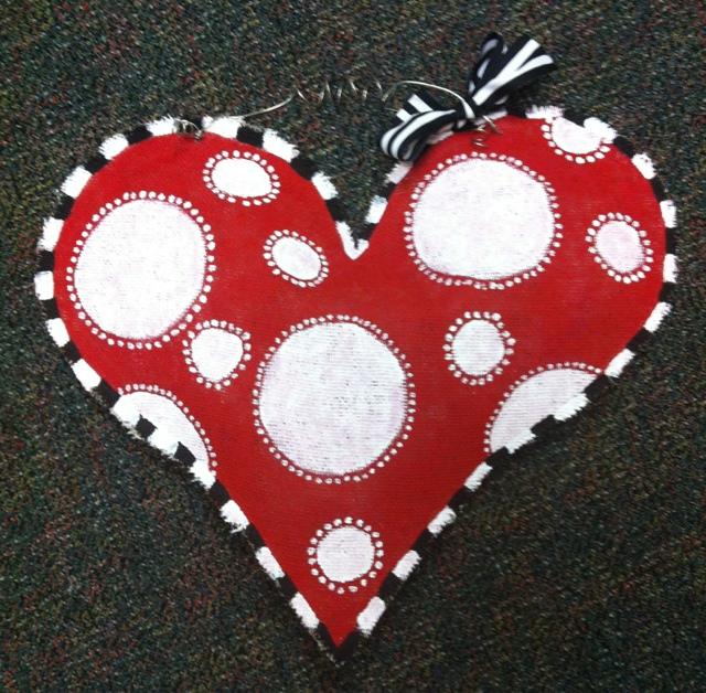 Valentine Heart Burlap Door Hanger & Running On Story Time: Valentine Heart Burlap Door Hanger