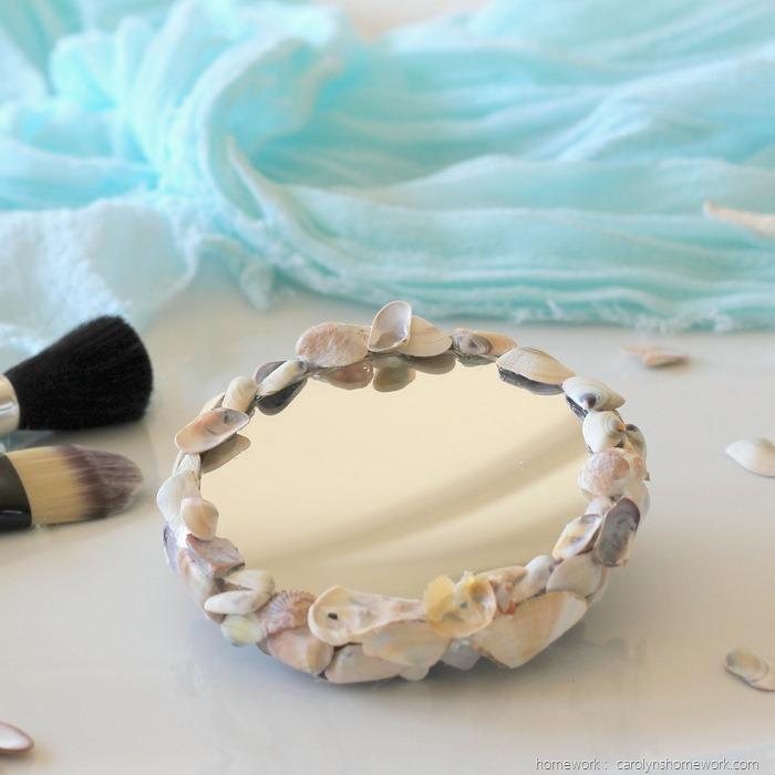 DIY Shell Magnifying Make Up Mirror via homework (10)