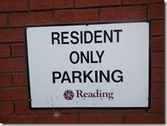 Residents' parking sign