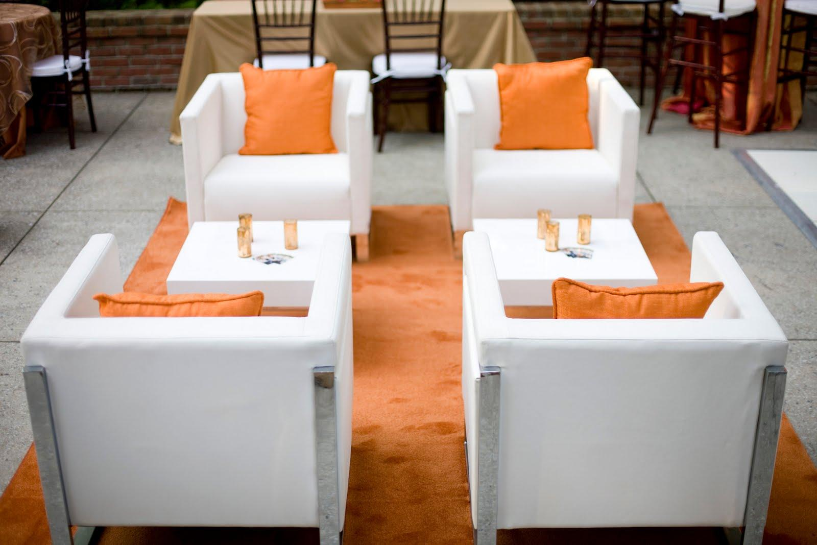 The orange and white lounge