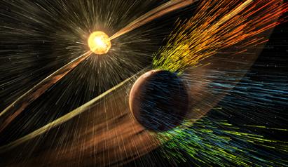 ilustração de tempestade solar que atinge Marte e retira íons da atmosfera superior