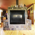 two-sided fireplace in living room