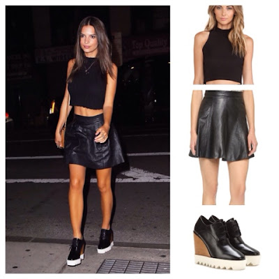 Emily Ratajkowki Emrata Instagram in Black Mock Turtleneck Leather Skater Skirt and Stella McCartney Platform Wedge Shoes