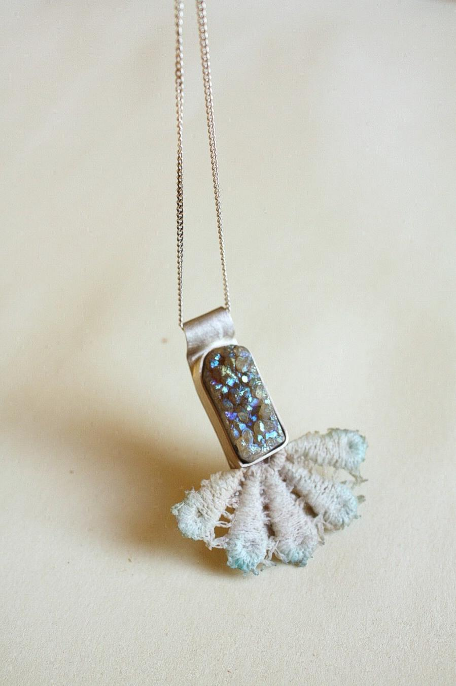 Vintage Lace Necklace sterling silver with druzy quartz stone light blue