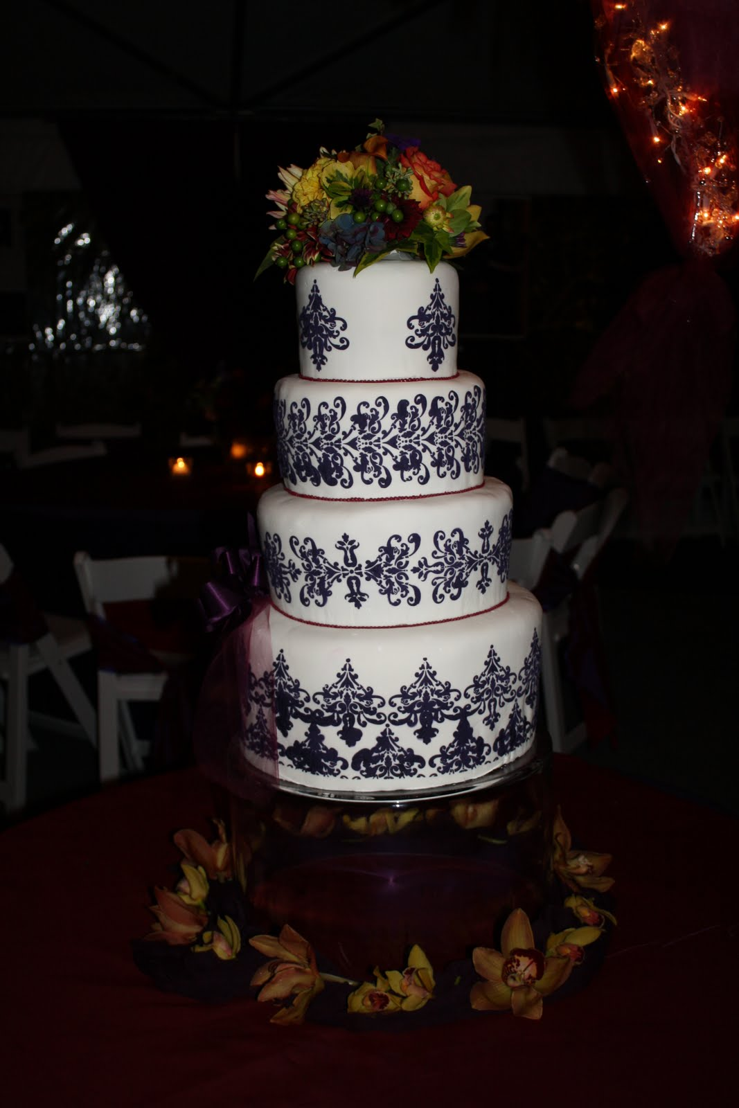 Four Tier Damask Wedding Cake