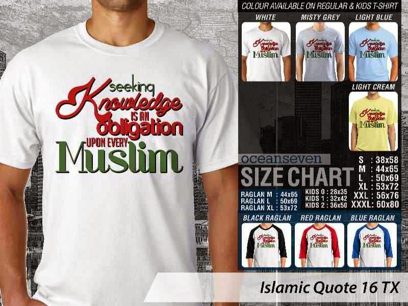 Kaos Islami Quote 16 Seeking Knowledge is An Obligation Upon Every Muslim distro ocean seven
