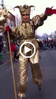 Gold Jester on Stilts