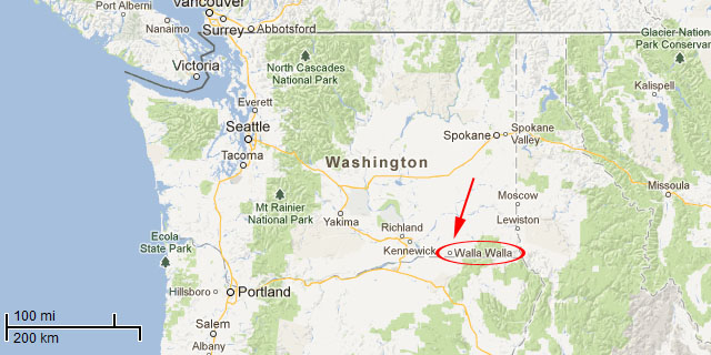 Google Map showing Walla Walla in Washington