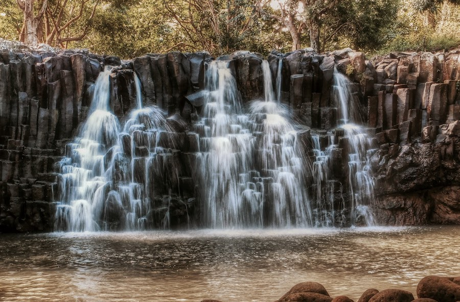 Rochester Falls, Mauritius by Katherine Rynor - Landscapes Waterscapes ( water, rochester falls, mauritius, waterfall, rocks,  )