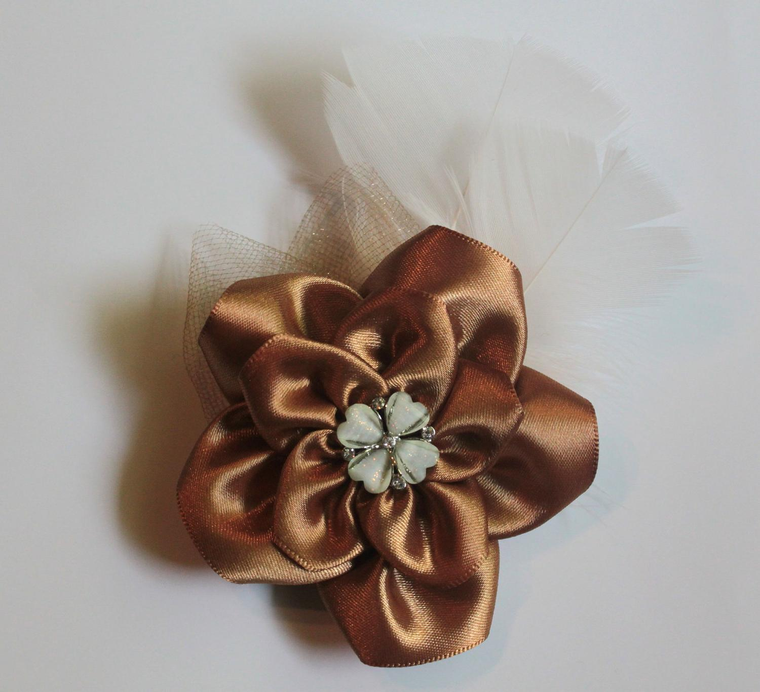 Feather fascinator - fall wedding - gold bronze vintage inspired flower with