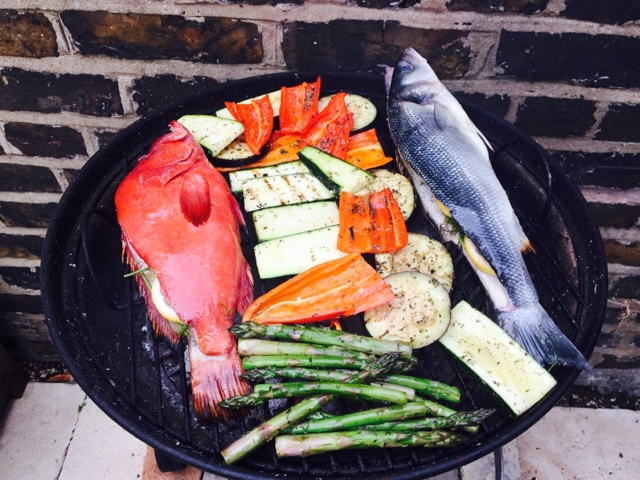 Red grouper and wild sea bass on the BBQ