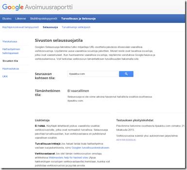 Sivuston selaussuojatila -työkalusta kuvakaappaus [itpaukku.com]