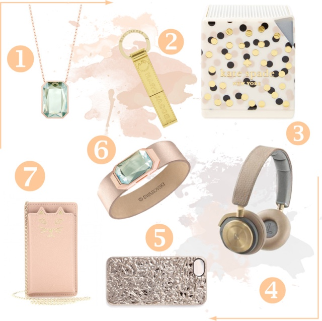 Golden Gadgets | Gold fashion tech accessories featuring Swarovski USB jewellery, Marc Jacobs, Kate Spade Bluetooth speaker, B&O by Bang & Olufsen H8 headphones and Charlotte Olympia feline iPhone case