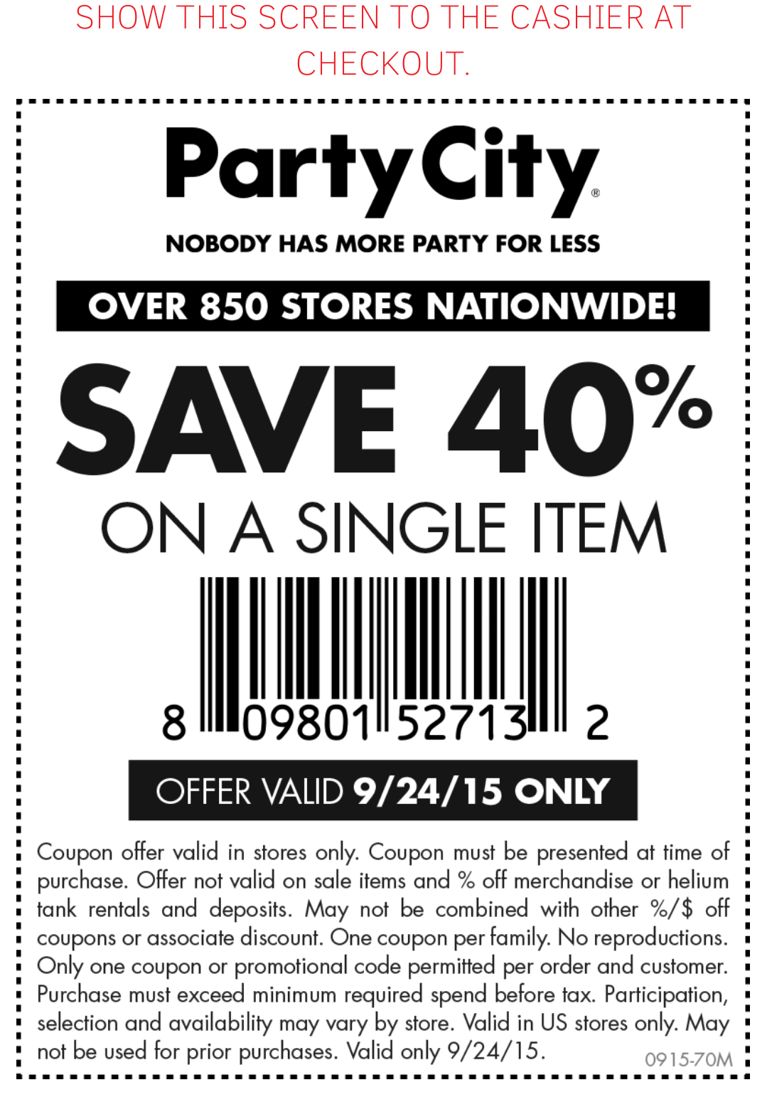 PartyCity: 40% off #Coupon (TODAY ONLY!) 9/24   Saving Cents Makes ...