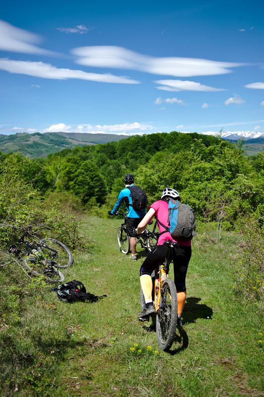 Cautand traseul, cu muntii inzapeziti in departare.