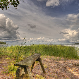 Bench on the beach by Mirkka Andersson - Artistic Objects Furniture ( clouds, sky, bench, sea, finland, hanko, beach )