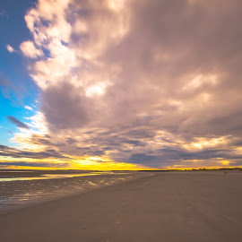 clouds over the beach by Ton Boelaars - Landscapes Weather ( clouds, geel, sand, zee, wolken, strand, sea, yellow, beach )
